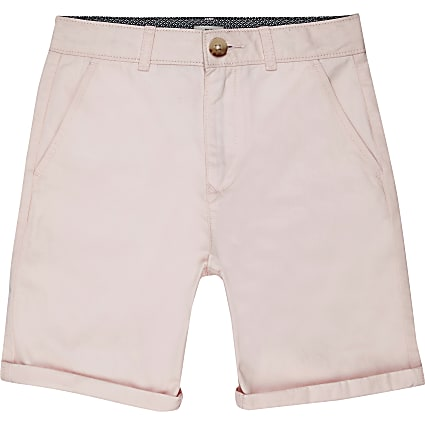 Boys pink smart chino shorts