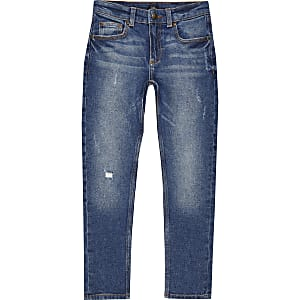 Sid - Donkerblauwe ripped skinny jeans voor jongens