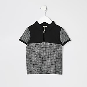 Polo à carreaux noir à col zippé mini garçon
