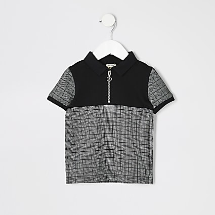 Mini boys black check zip neck polo shirt