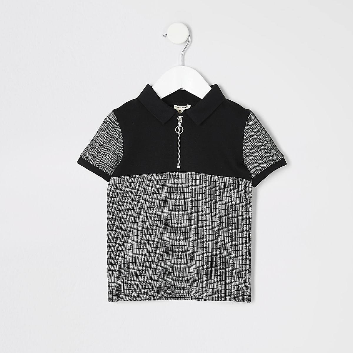 Mini - Geruit zwart poloshirt met ritsje bij de hals voor jongens