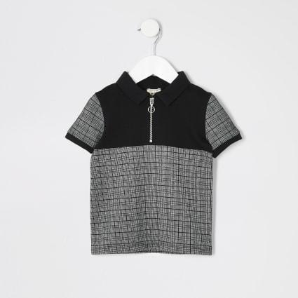 Mini boys black check zip neck polo shirt