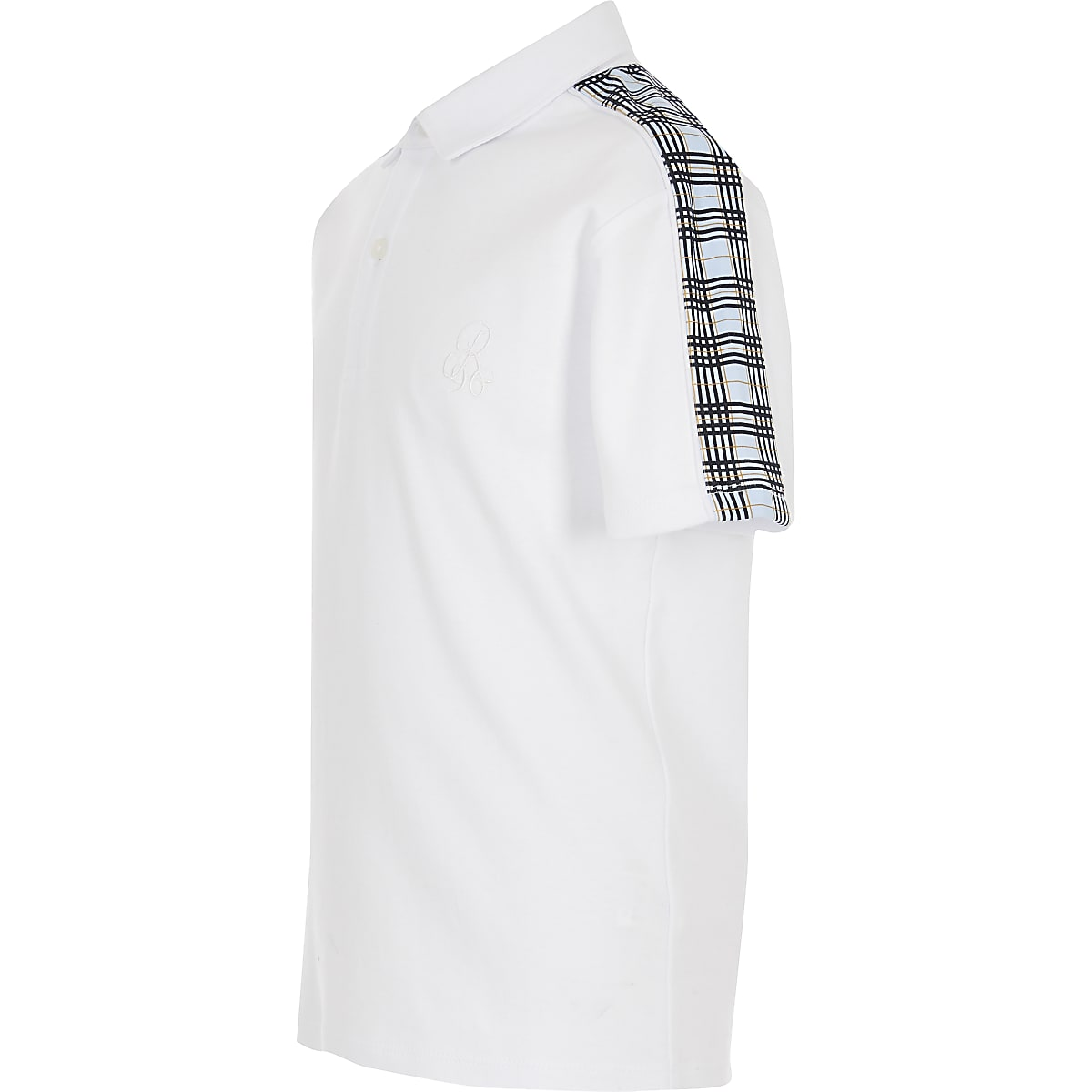 Boys white check polo shirt