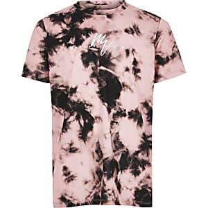 Roze tie-dye T-shirt met 'Maison Riviera'-print voor jongens