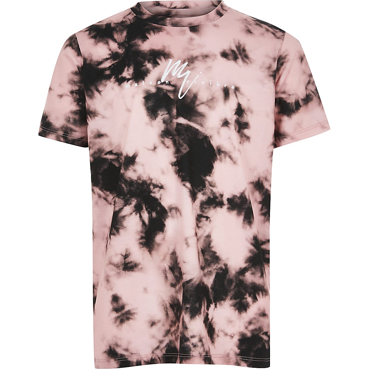 Boys pink tie dye 'Maison Riviera' T-shirt