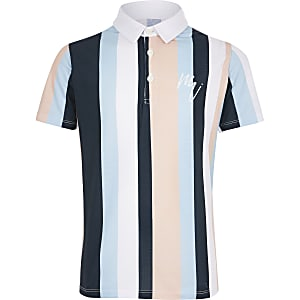 Boys white stripe polo shirt