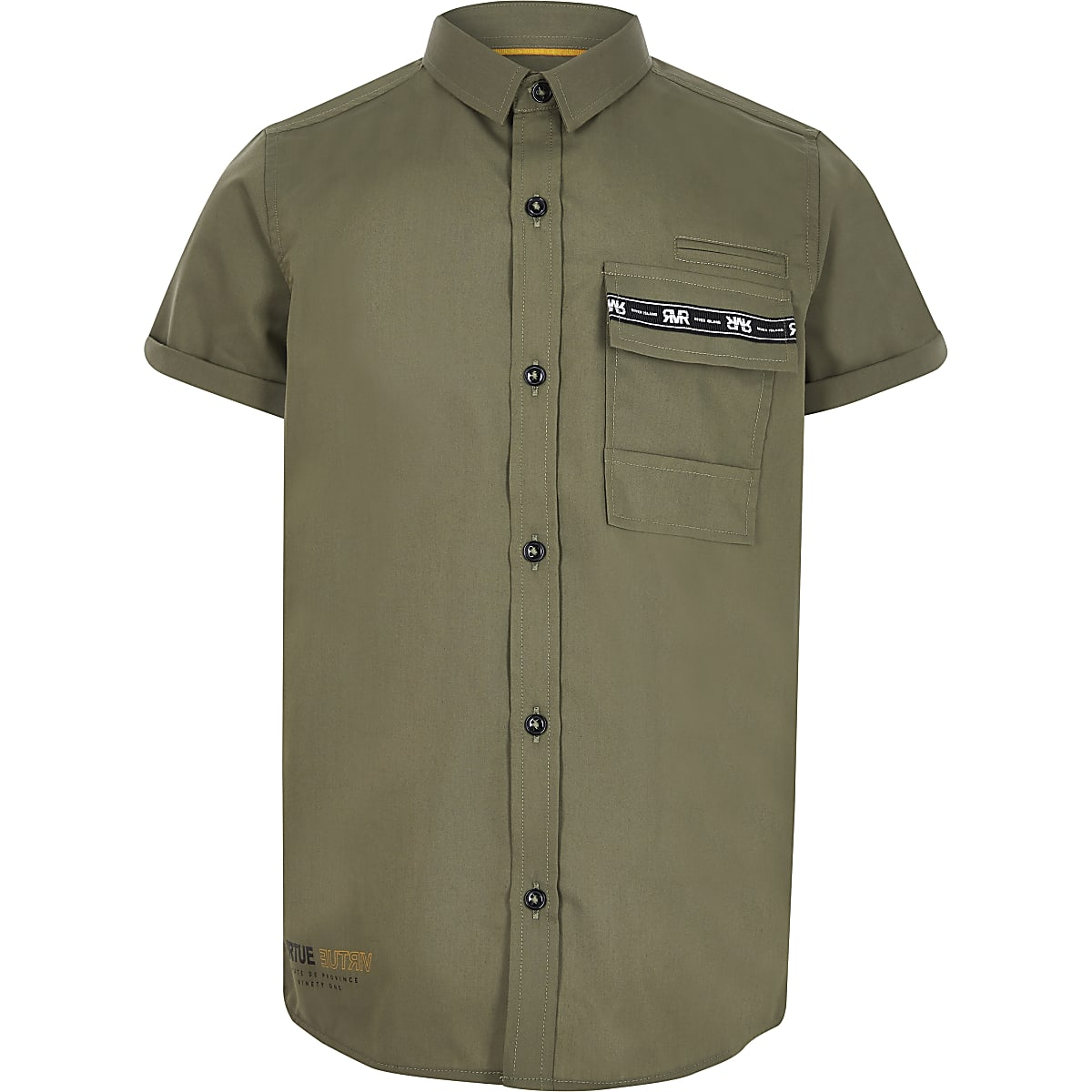 Boys khaki utility pocket shirt