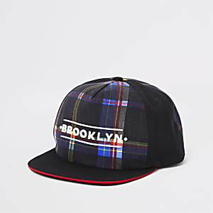 Boys black 'brooklyn' check cap