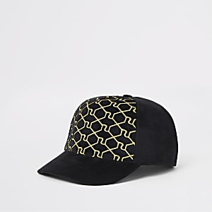 Schwarze Kappe mit Trellis-Muster im RI-Design