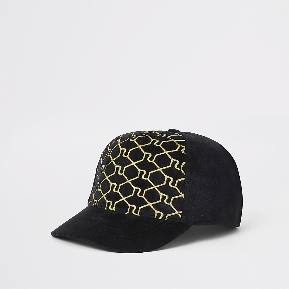 Boys black RI monogram cap