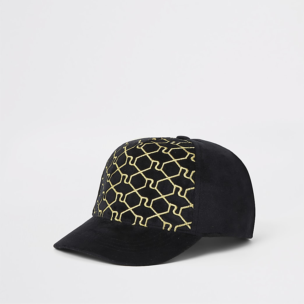 Boys black RI monogram cap