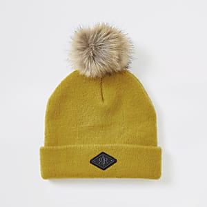 Gelbe Beanie-Mütze aus Kunstfell mit Kunstfellbommel für Jungen