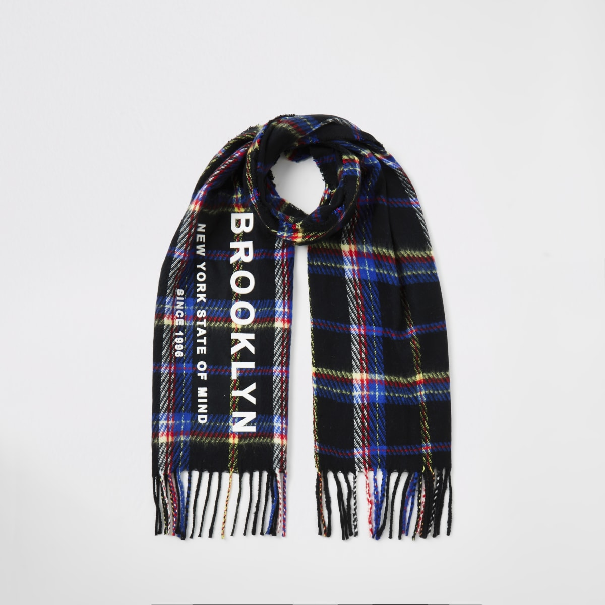 Boys black check embossed scarf