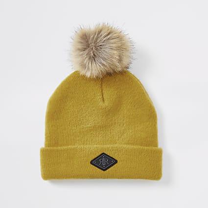 Mini boys yellow brushed beanie hat