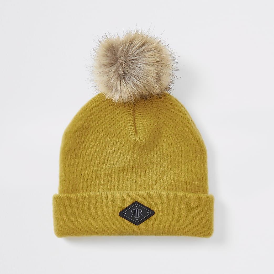 Mini boys yellow faux fur pom pom beanie hat