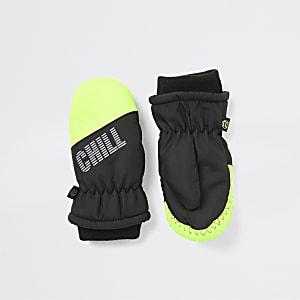Mini - Groene gewatteerde wanten met 'Chill out'-print voor jongens