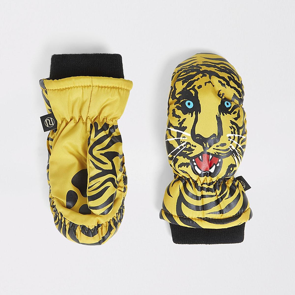 Mini boys brown tiger print mitten