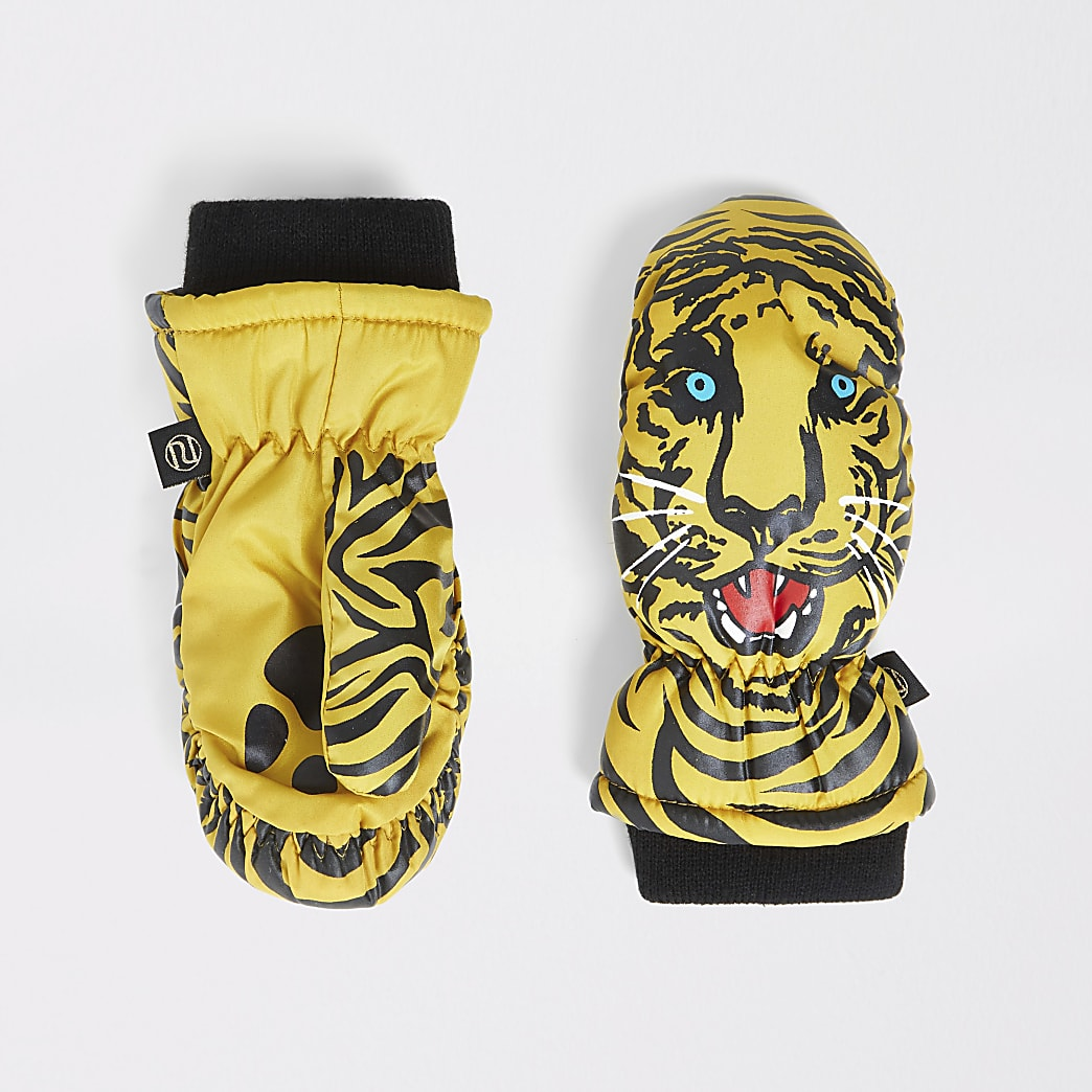 Mini boys brown tiger print mitten