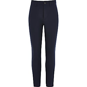 Boys navy skinny fit trousers
