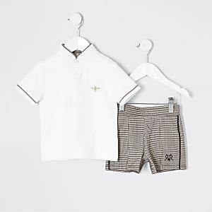 Mini - Outfit met witte polo en short voor jongens
