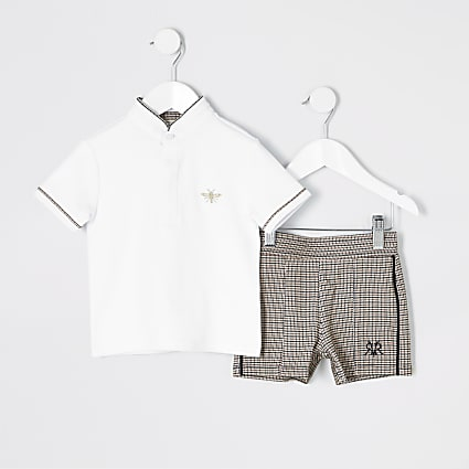 Mini boys white polo and shorts outfit