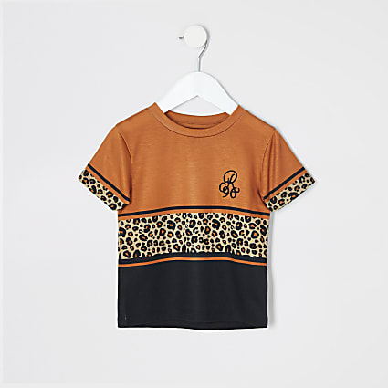 Mini boys orange leopard print T-shirt