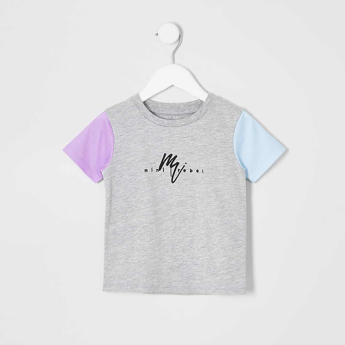 Mini boys grey contrast sleeve T-shirt