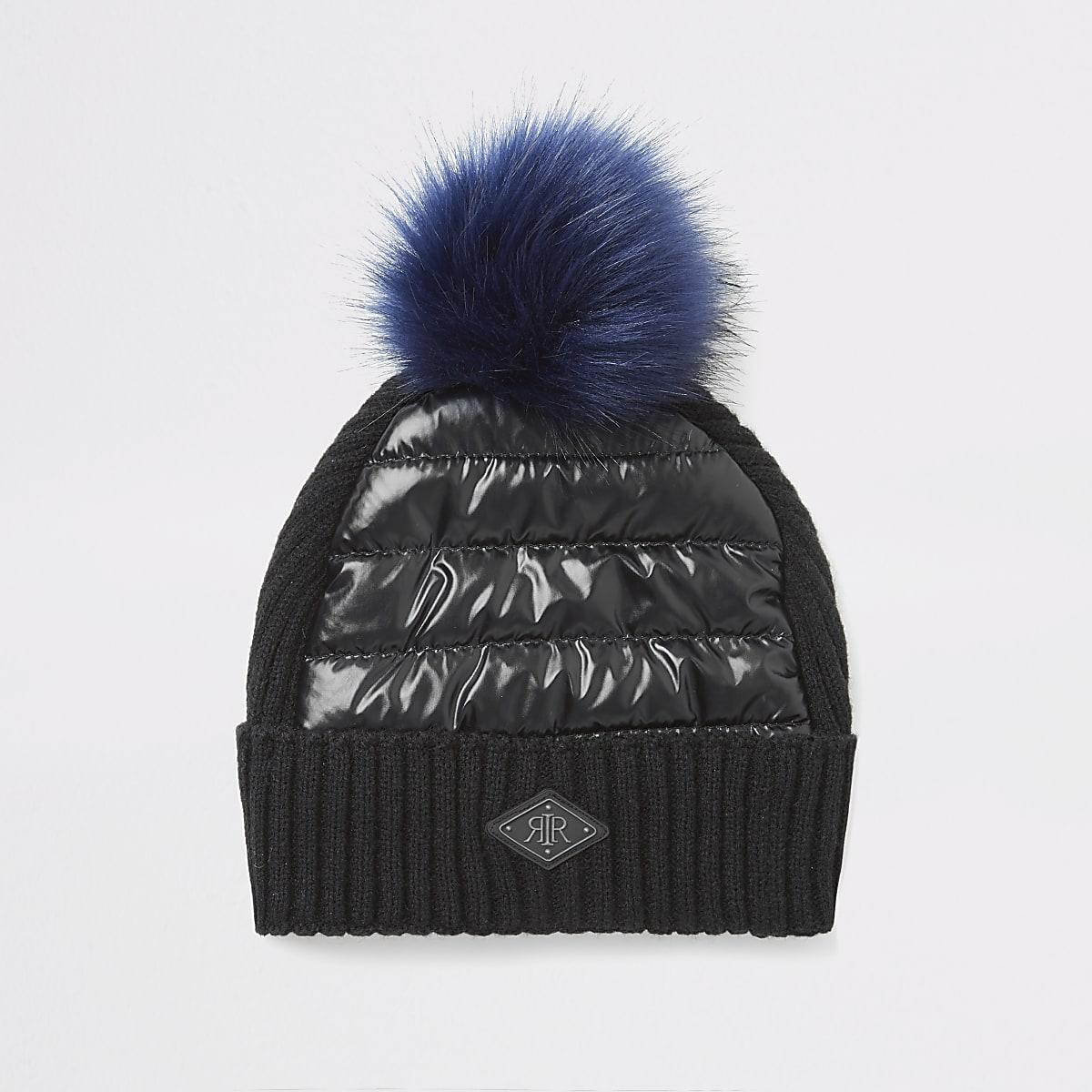 Boys black padded faux fur pom pom beanie hat
