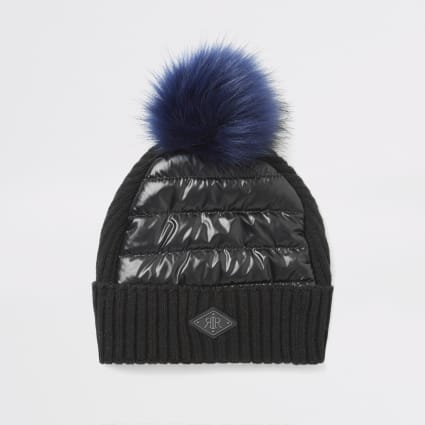Boys black padded faux fur pom pom beanie hat