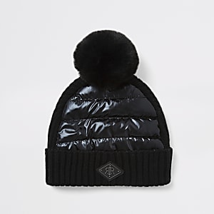 Mini boys black padded faux fur pom pom hat