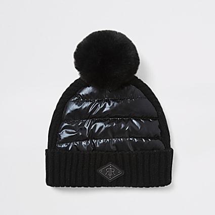Mini boys black padded faux fur pom pom hat
