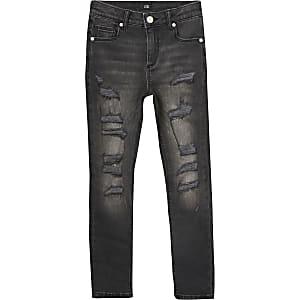 Danny – Schwarze Super Skinny Jeans im Used-Look für Jungen