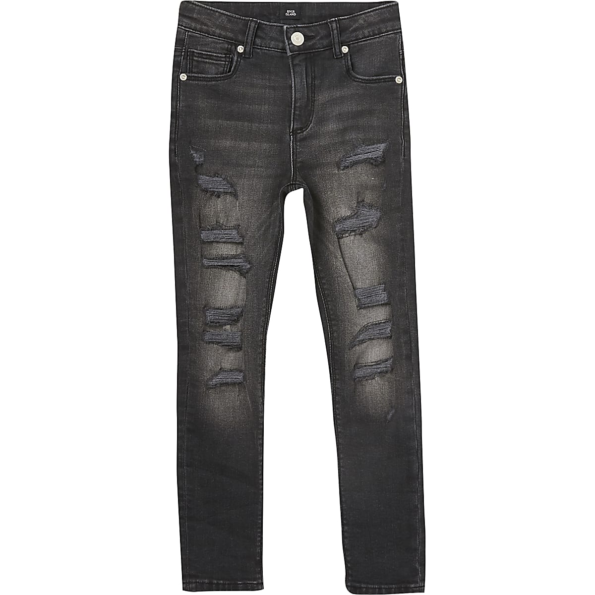 Boys black Danny super skinny ripped jeans