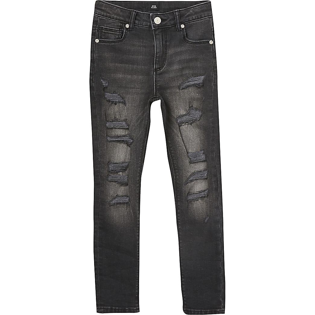 Boys black Danny super skinny ripped jeans