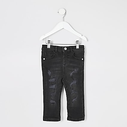 Mini boys black Sid ripped skinny jeans