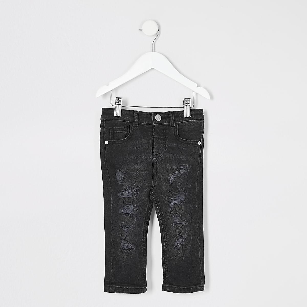 Mini - Sid - Zwarte ripped skinny jeans voor jongens