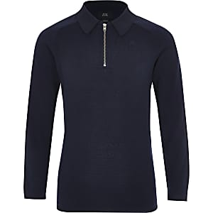 Boys navy pique long sleeve polo shirt