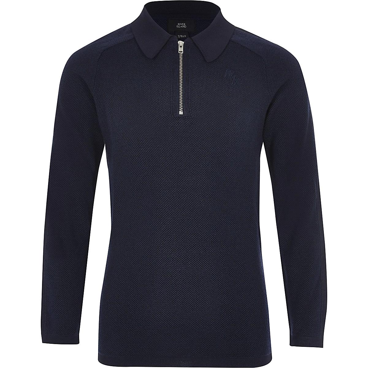 Boys navy pique long sleeve polo shirt