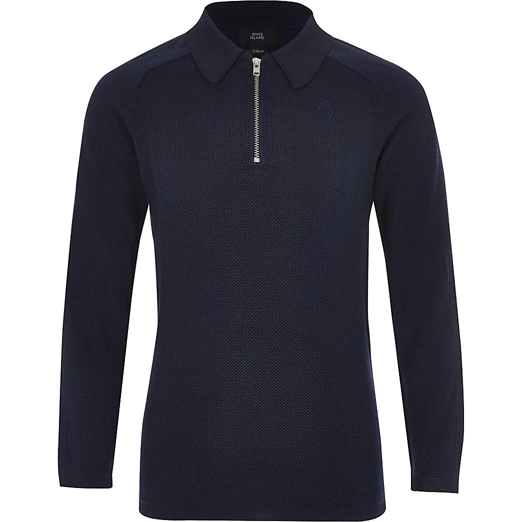 Langärmeliges Pikee-Poloshirt in Marineblau für Jungen