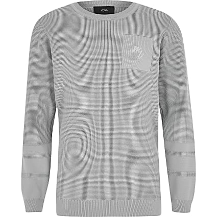 Boys grey textured jumper