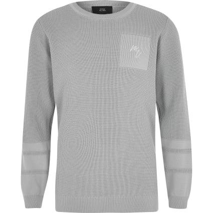 Boys grey textured jumper