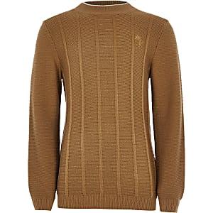 Maison Riviera - Bruine gebreide pullover voor jongens