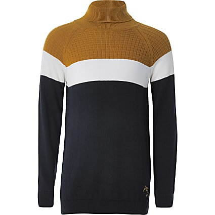 Boys navy colour blocked roll neck jumper