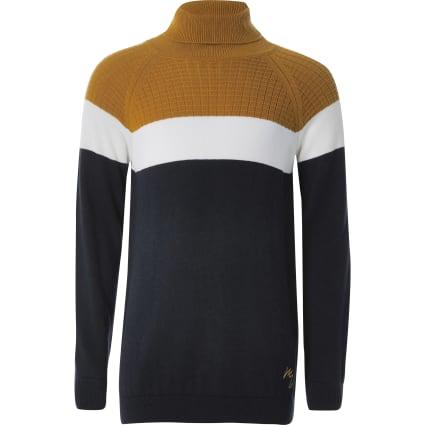 Boys navy colour blocked roll neck jumper
