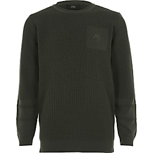 MaisonRIviera - Kaki gebreide pullover voor jongens