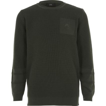 Boys khaki Maison Riviera knitted jumper