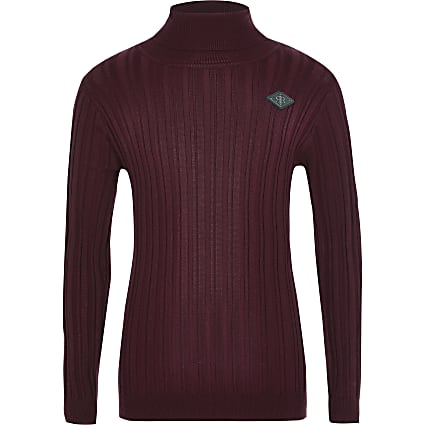 Boys dark red ribbed roll neck jumper
