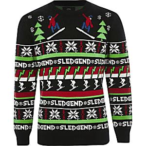 """Schwarzer Weihnachtspullover """"Sledgend"""" für Jungen"""