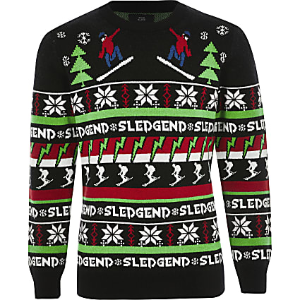 Boys black 'Sledgend' Christmas jumper