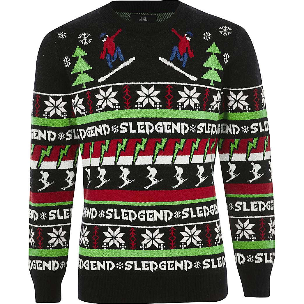 Boys black 'Sledgend' Christmas jumper